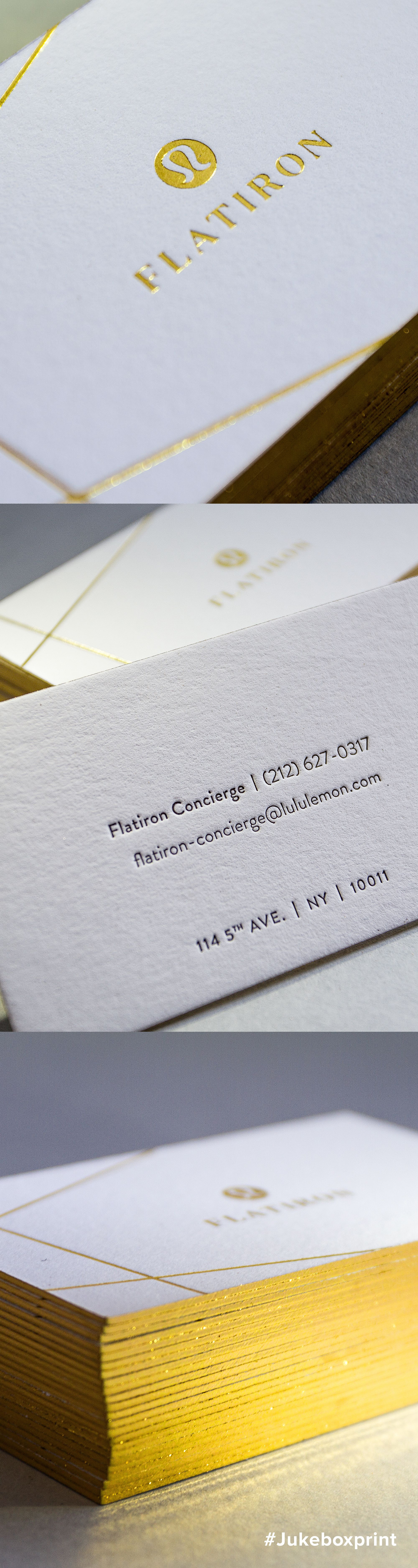Stunning gold foil and letterpress business cards produced for stunning gold foil and letterpress business cards produced for lululemons flagship flatiron store in nyc produced by jukebox print reheart Image collections