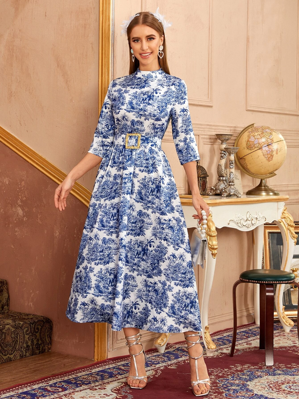 Landscape Print Belted Midi Dress Shein Usa Belted Midi Dress Dresses Midi Dress [ 1332 x 1000 Pixel ]