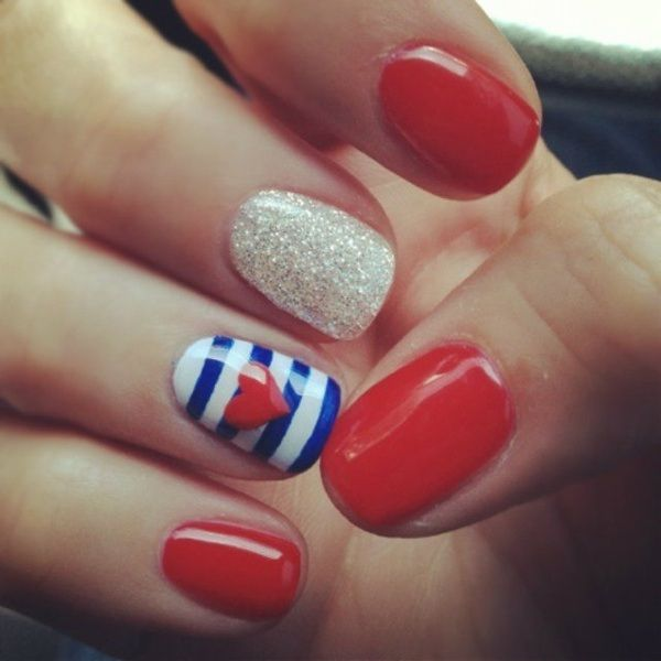 Elegant Red Nail Designs For Short Nails with Nail Polish - anchor instead  of heart would - Elegant Red Nail Designs For Short Nails With Nail Polish - Anchor