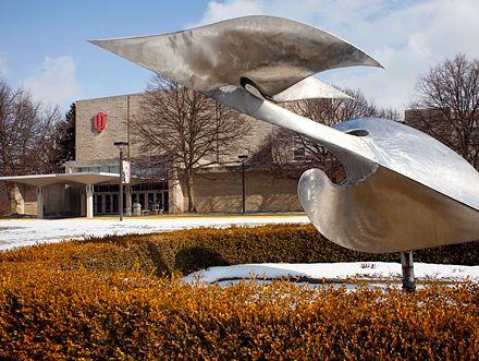 Indiana University, Kokomo with the sculpture
