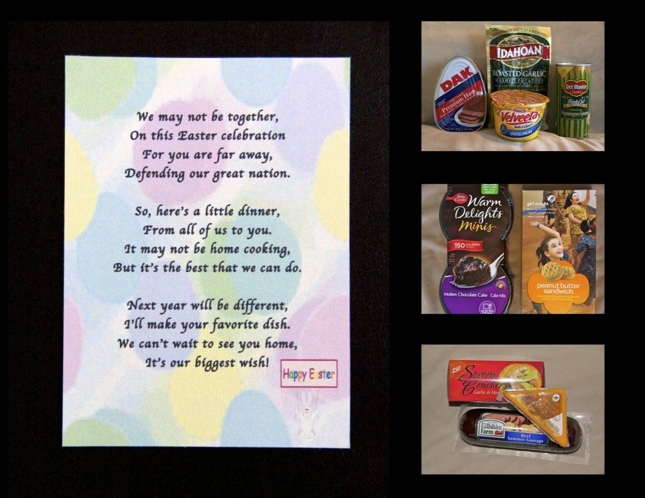 Sending an Easter Dinner care package! Printable included