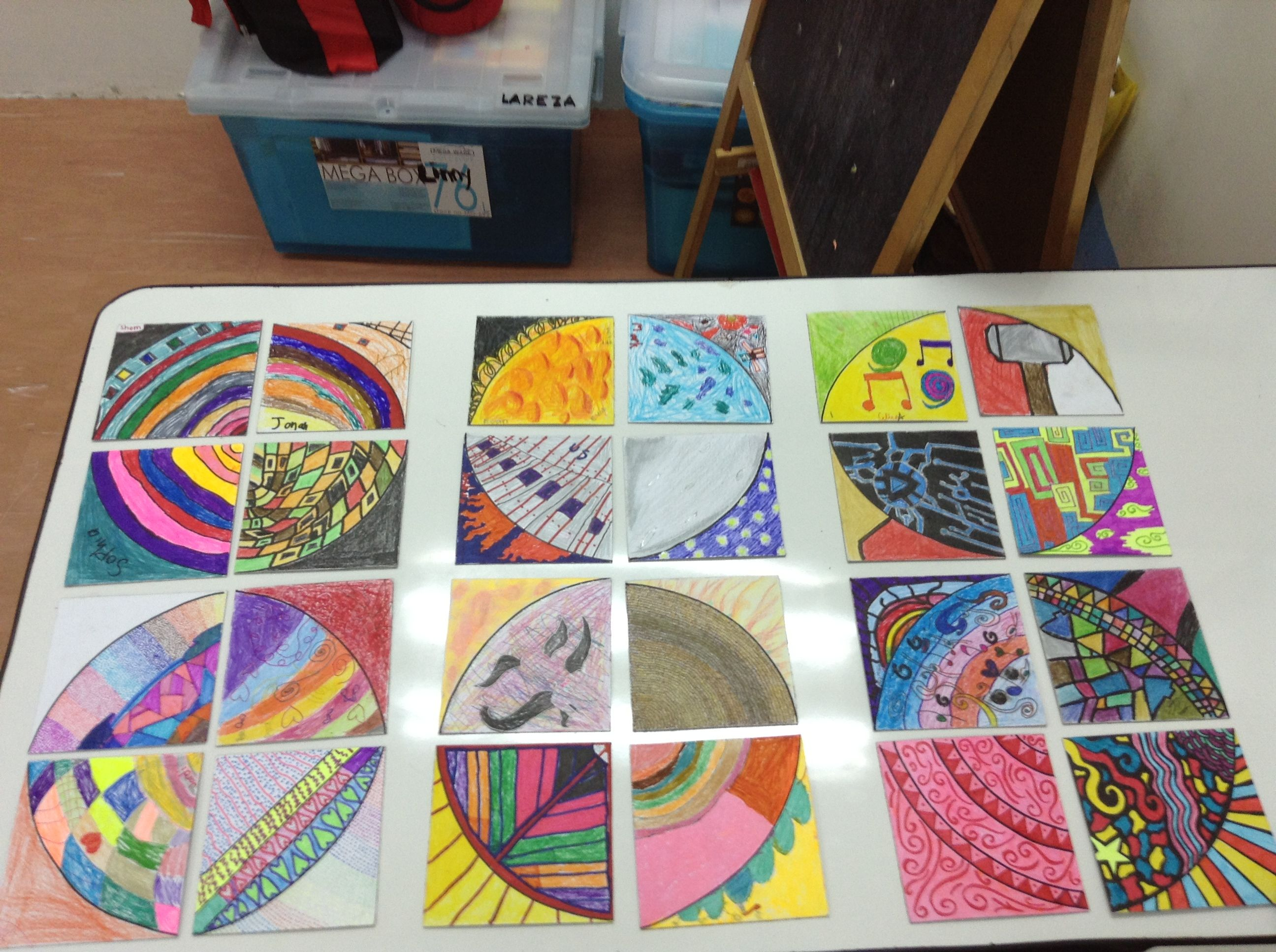 Quarter in a Square. We tried making this in our Arts and Crafts Club with grades 1 to 6.