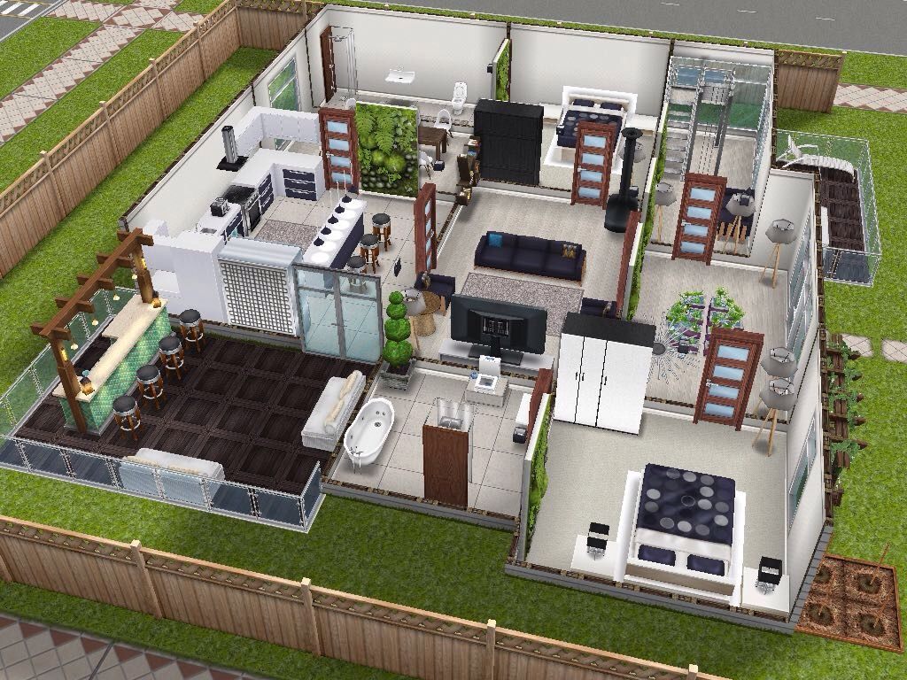 House 5 ground level back view sims simsfreeplay for Casa de diseno the sims freeplay