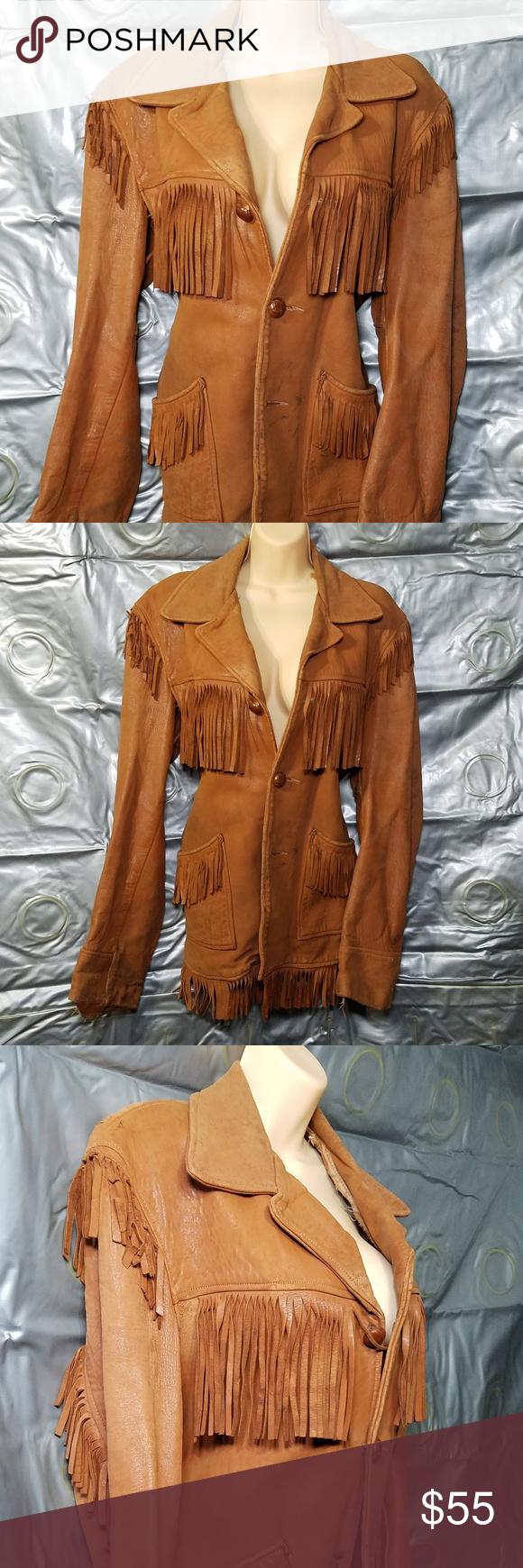 vintage genuine leather jacket w tassles Original