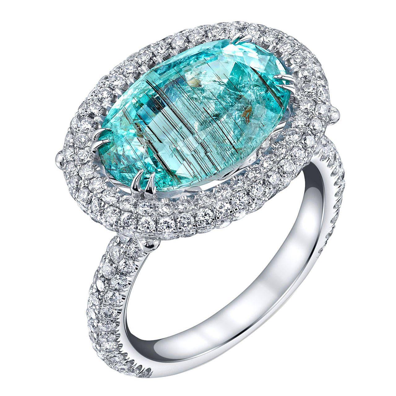 Gia Cert Paraiba Tourmaline Diamond Gold Ring