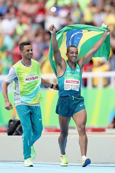 Ricardo Costa de Oliveira of Brazil celebrates winning the men's long jump T11 on day 1 of the Rio 2016 Paralympic Games at Olympic Stadium on September 8, 2016 in Rio de Janeiro,Brazil.