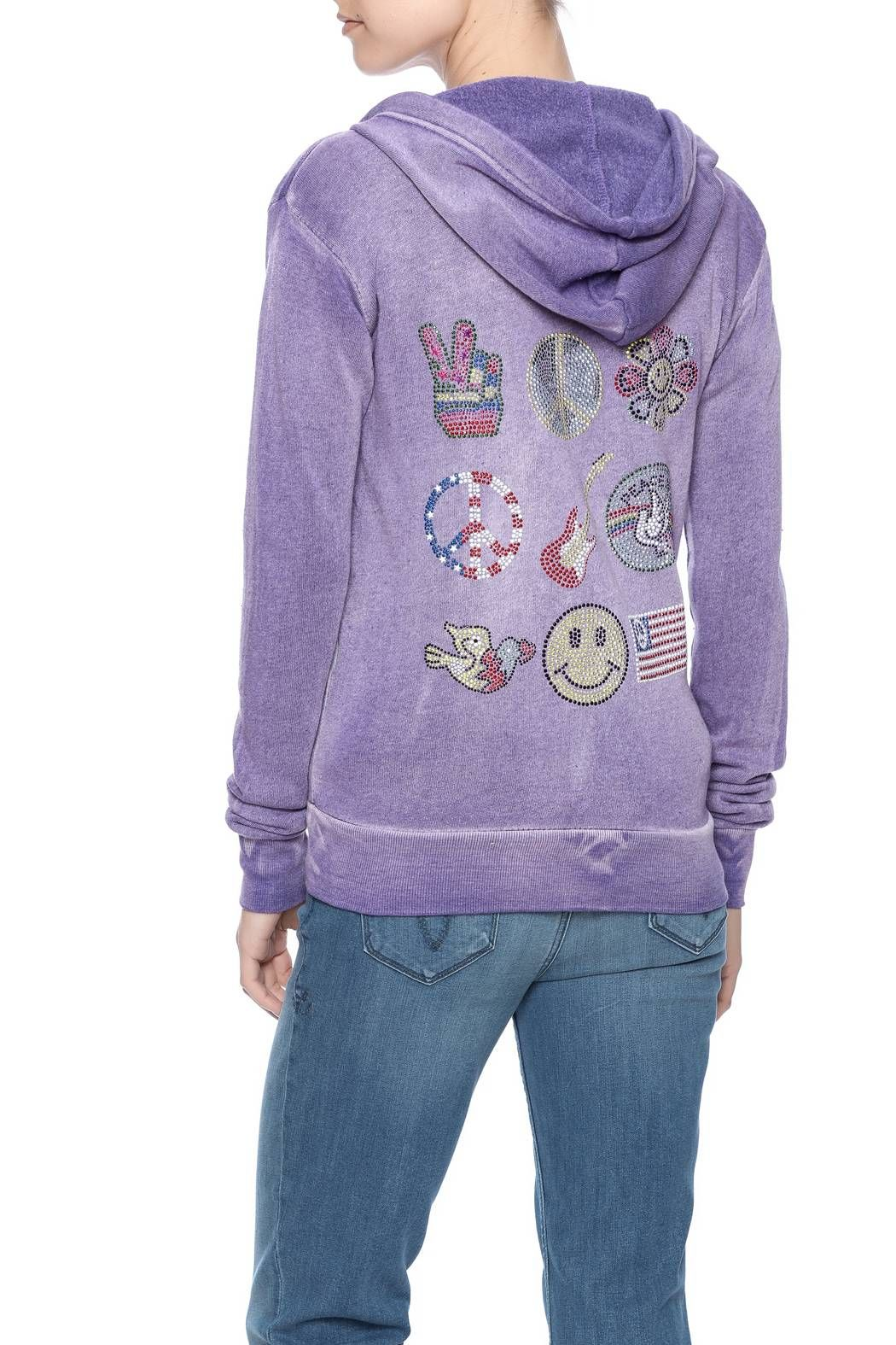 5fcfdef0b Super soft mineral wash zip hoodie with American Girl applique on back.  Features hood and