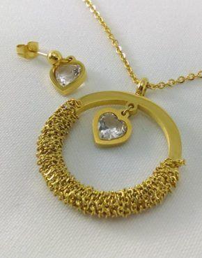 Conjunto de aro con tejido dorado
