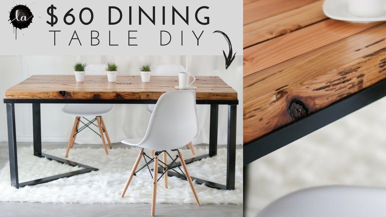 Diy Scandinavian Dining Table Wood Metal Recycled Wood Diy Dining Table Scandinavian Dining Table Diy Dining