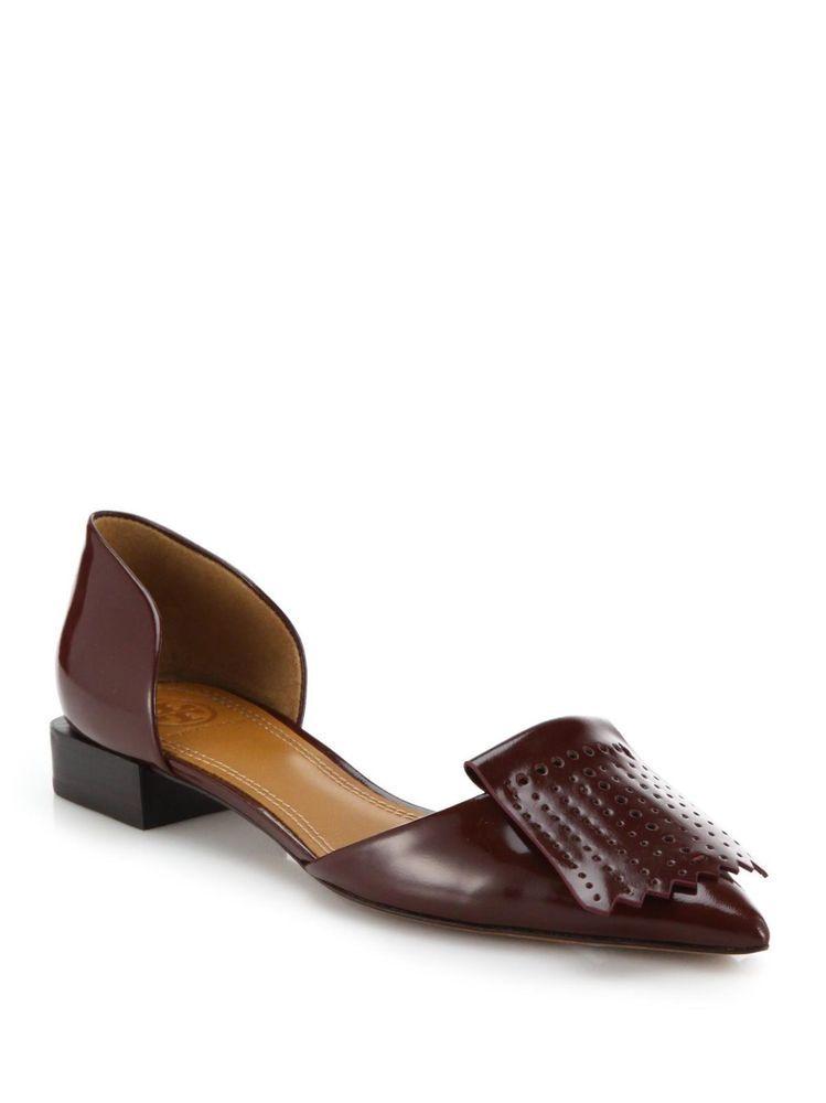 New Tory Burch Hyde Patent Patent Patent Pelle Fringe Pointy Toe Flat scarpe   a49ed2