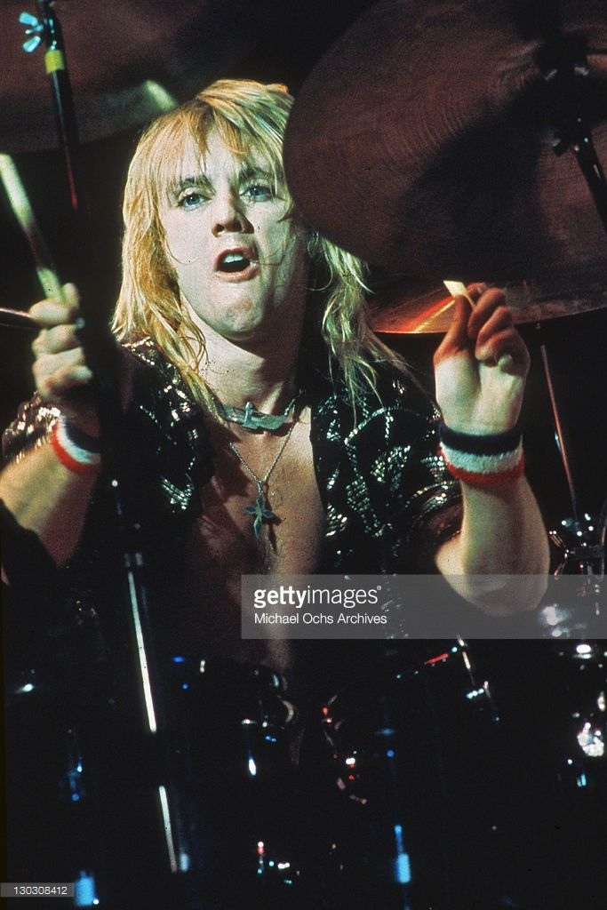 Drummer Roger Taylor of British rock band Queen in concert, 1977.