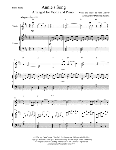 annie's song, arranged for violin and piano | sheet music, violin sheet  music, violin  pinterest