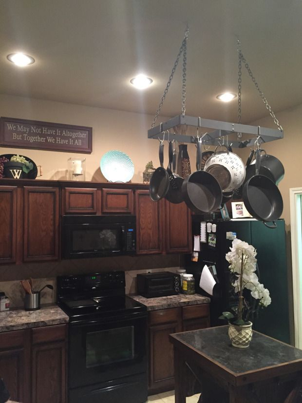 Kitchen Pot Rack and Above Cabinet Display