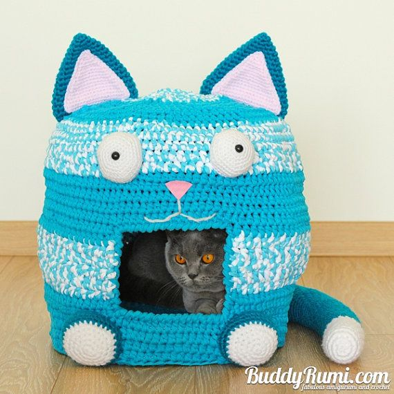 Pattern Crochet Cat Bed Cave Kitty Kat House T Shirt Yarn Crochet