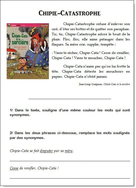 Les Synonymes Ce1 Ce2 Ce1 Ce2 Ce1 Ce2