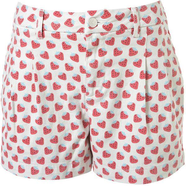 Strawberry Print Shorts ($65) ❤ liked on Polyvore featuring shorts, bottoms, pants, short, women, short shorts, cotton shorts and pocket shorts