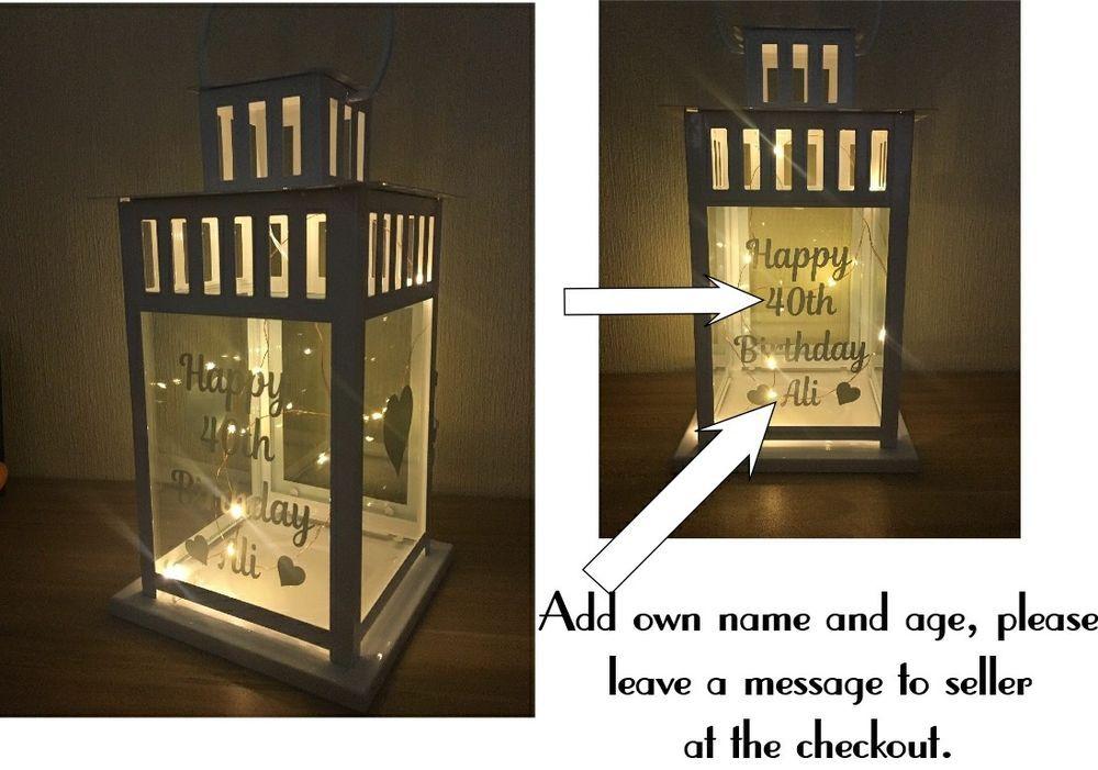 Vinyl sticker for lantern happy age birthday name with hearts birthday gift unbranded birthday