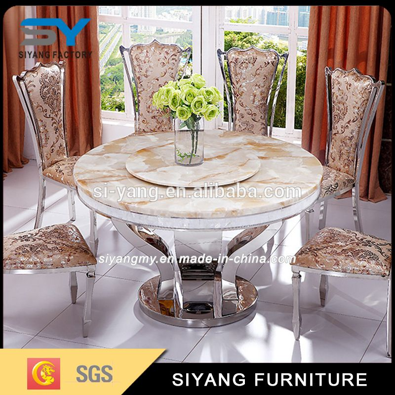 Cheap Metal Furniture Marble Round Rotating Dining Table Ct022