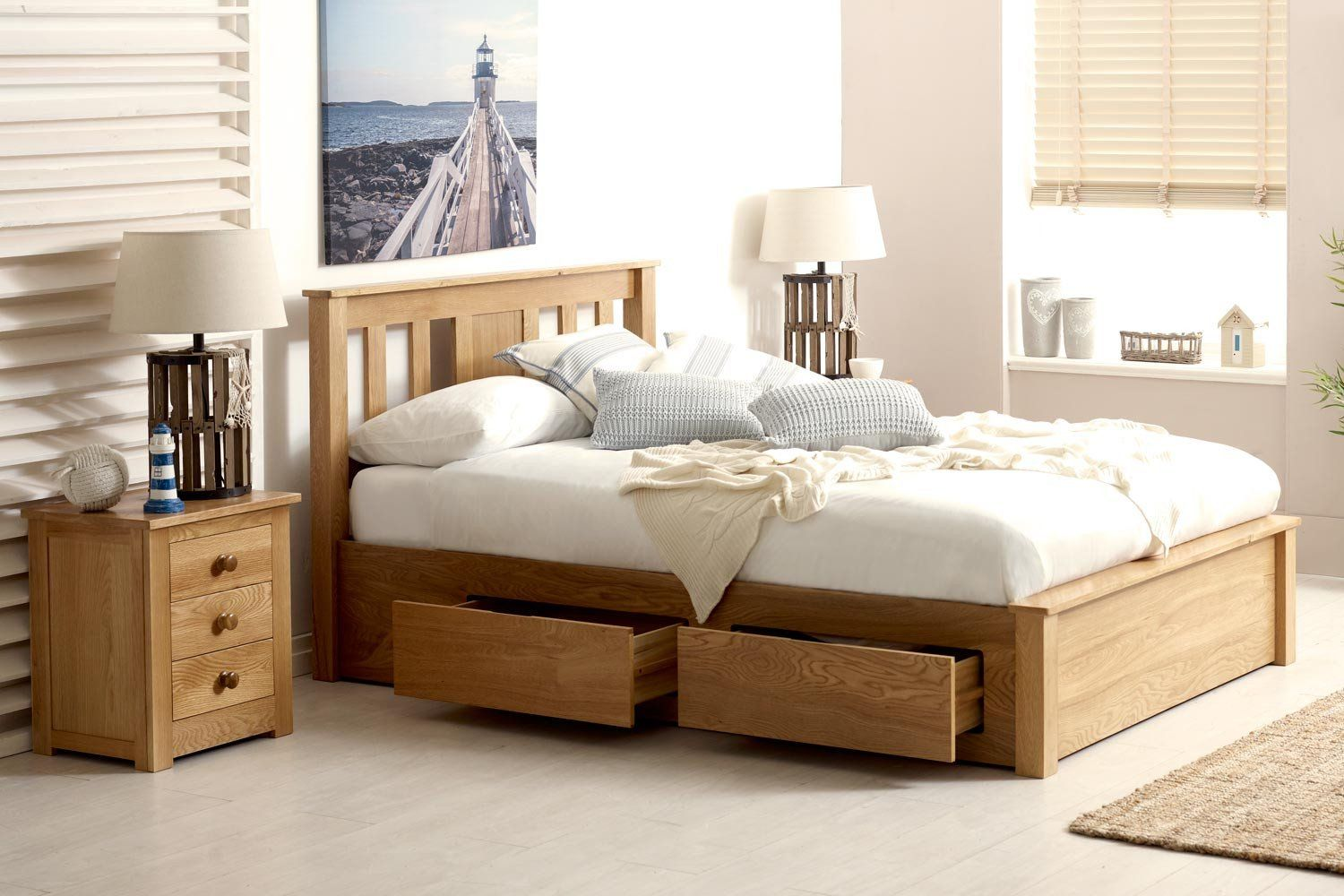 Wimbledon Solid Oak Storage Bed 5ft King Size Bed Frame With