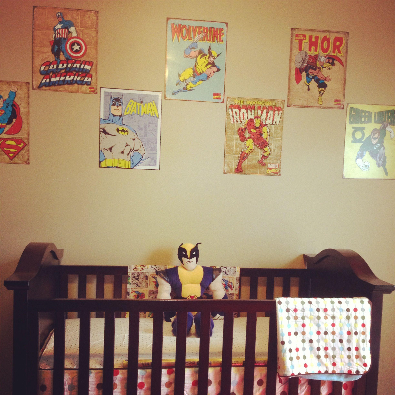 Vintage superhero bedding - Vintage Superhero Baby Room