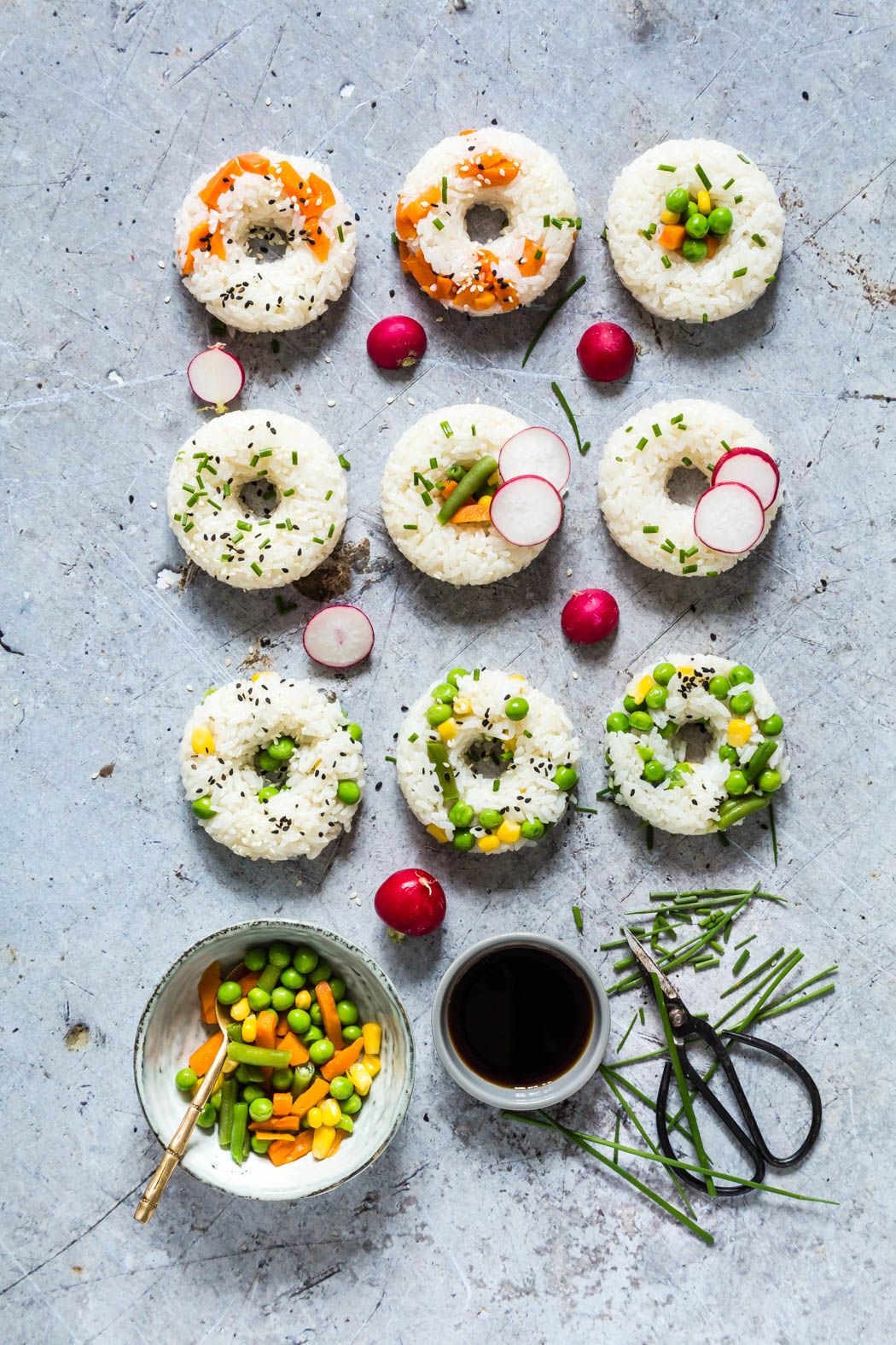 Vegetable Sushi Doughnuts A Simple Recipe Made With 5 Ings Mixed Vegetables Rice Maple Syrup Mirin