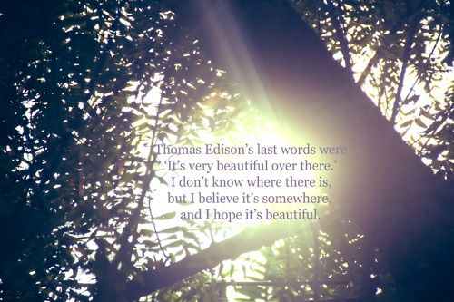 A quote from Looking For Alaska, great novel. Love the editing on this picture too