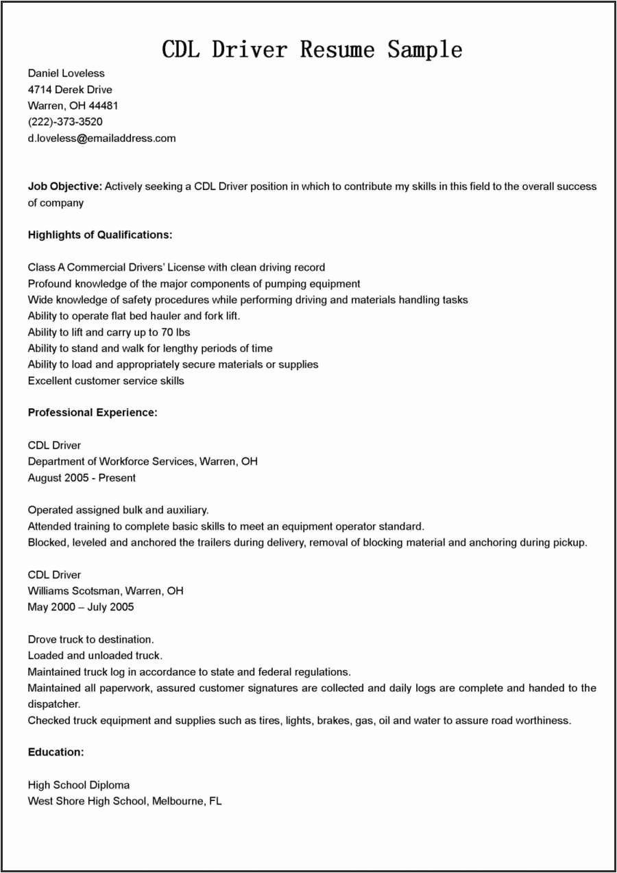 Cdl truck driver job description for resume inspirational