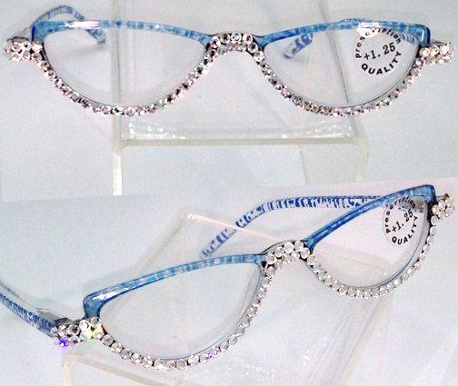 d10f5bdf2d5 Swarovski Embellished Bling Reading Glasses Blue by MyPreeBling ...