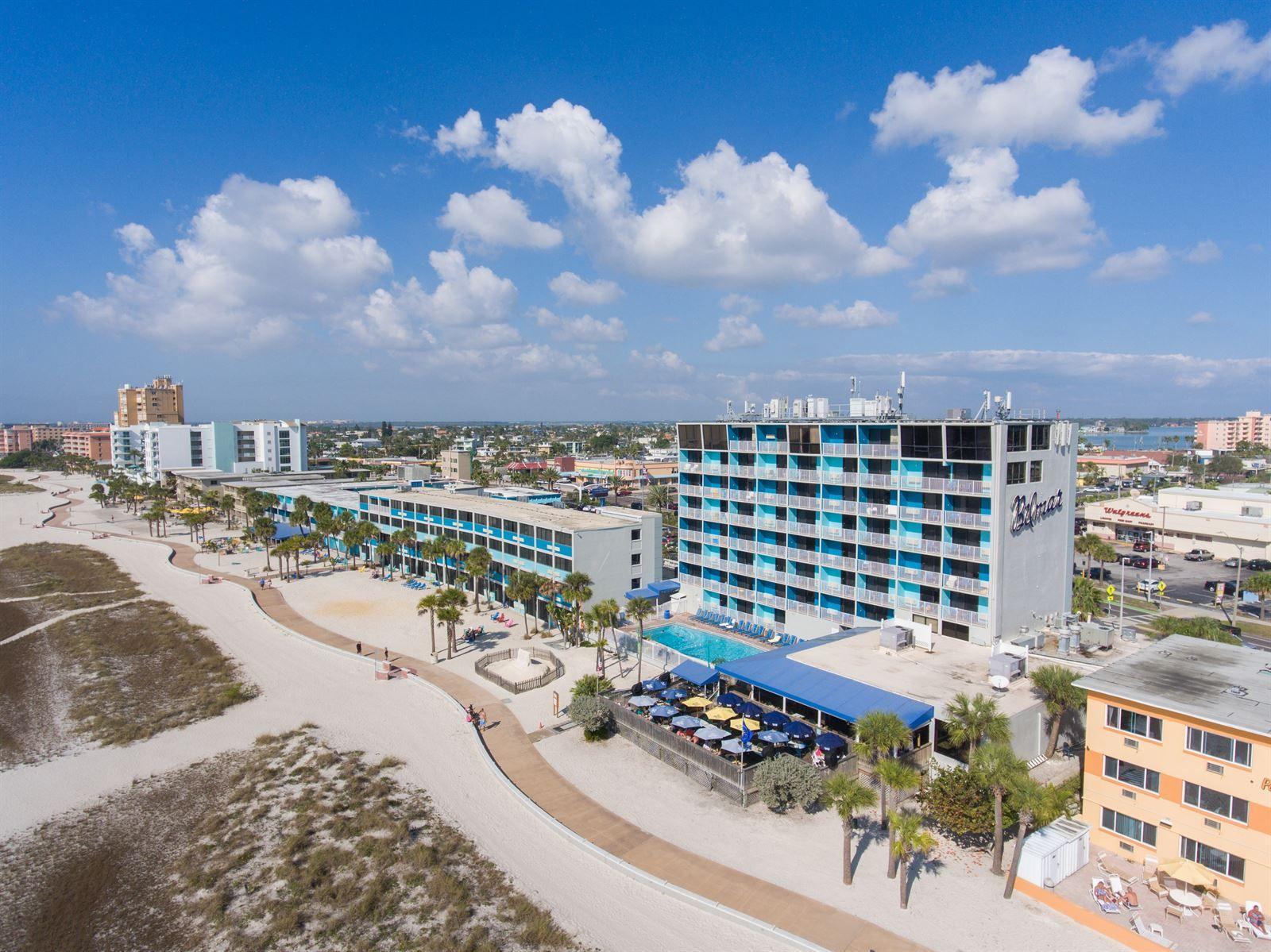 Aerial view of bilmar beach resort treasure island