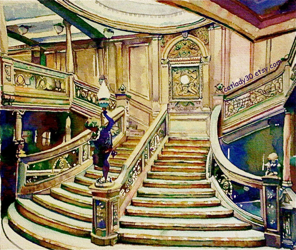 Titanic Staircase Watercolor Print. Ship painting. Nautical decor ...
