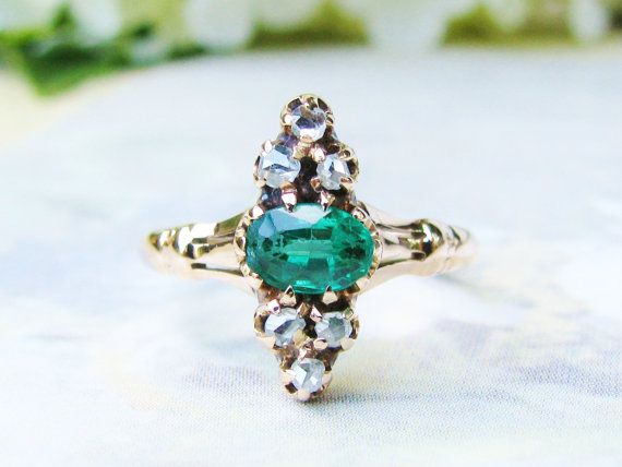 Antique Engagement Ring Emerald Green Doublet Victorian Navette Ring 14K Gold Rose Cut Diamond Wedding Ring Antique Diamond Ring!
