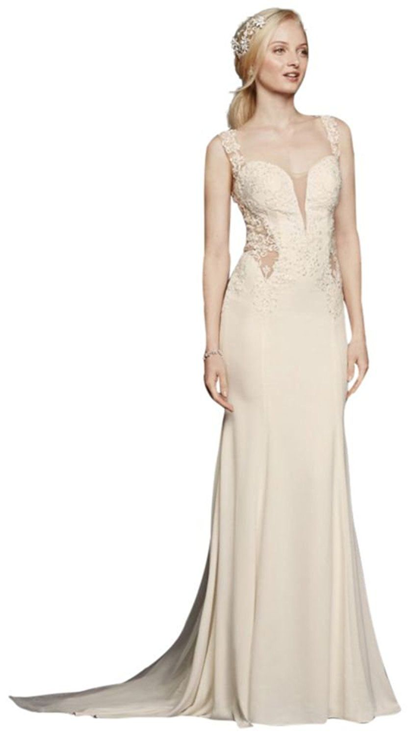 Grey lace wedding dress  Crepe Beaded Lace Wedding Dress with Illusion Details Style SWG