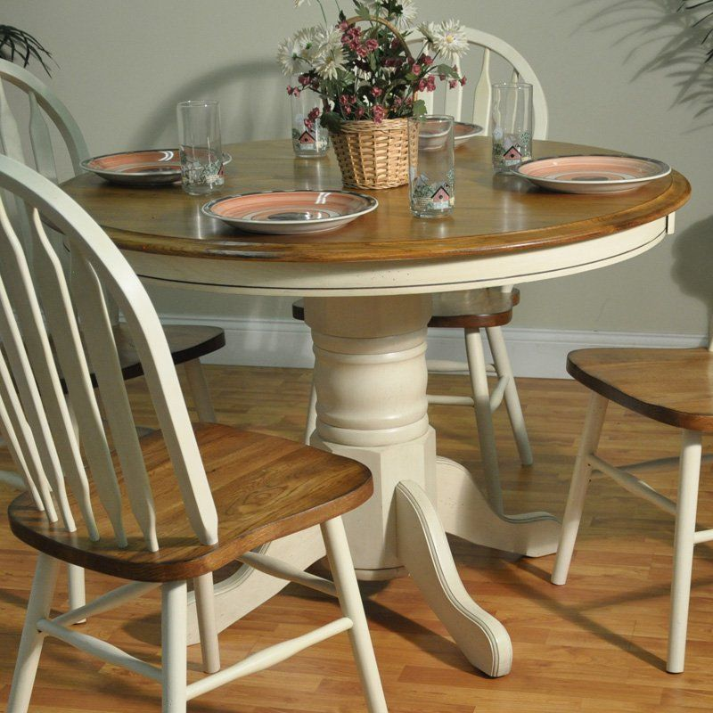 Barnsdale Round Pedestal Two Tone Dining Table White Burnished Oak 550 Hayneedle
