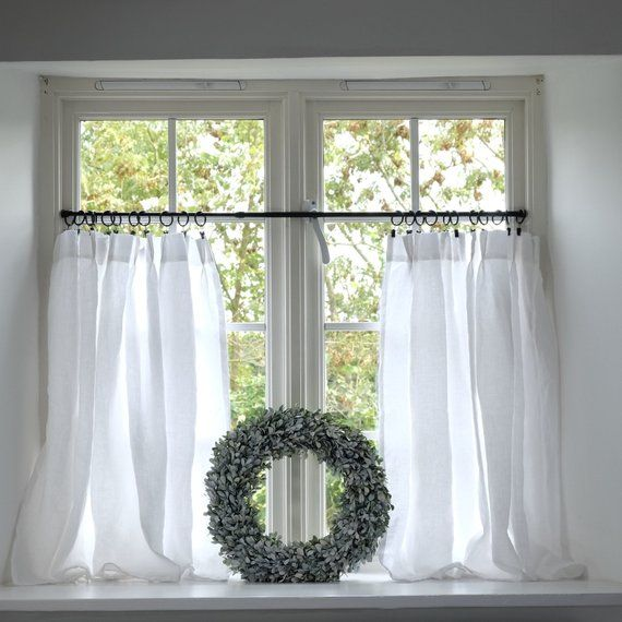 Linen Cafe Curtains Plain Washed White Linen Pinch Pleat