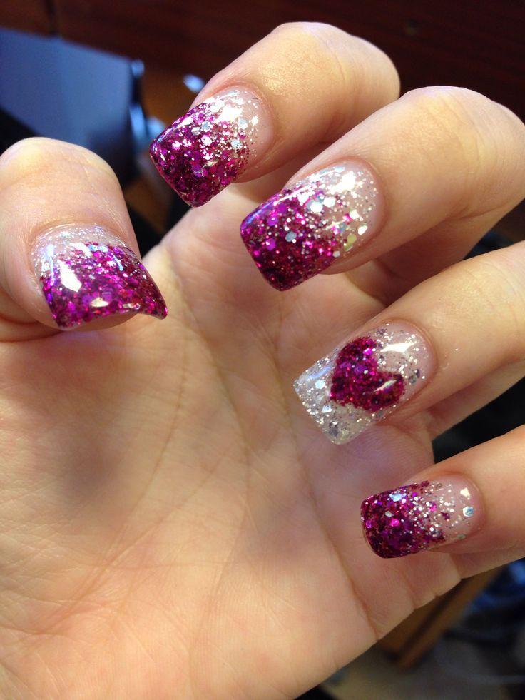 Purple glitter faded nails. | nails | Pinterest | Glitter fade nails ...