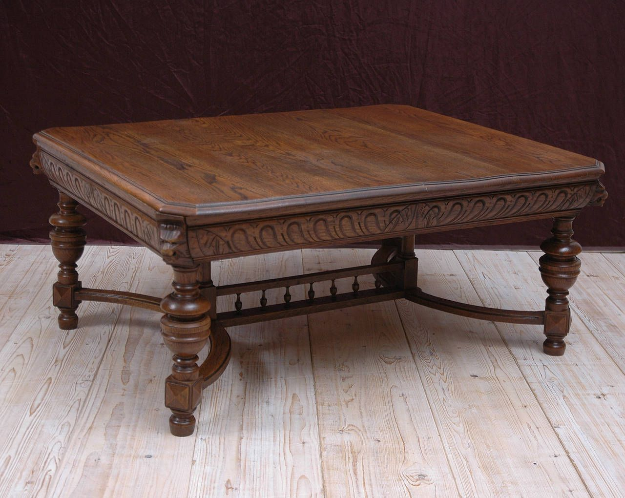 Carved Coffee Tables Century Renaissance Style Oak Table