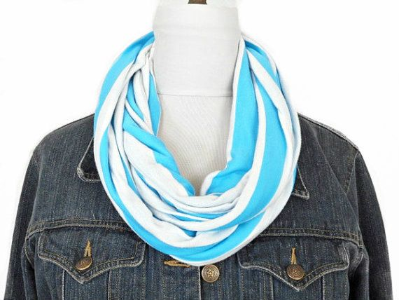 Turquoise Stripes Scarf Infinity White  Circle by ModaBellaScarves