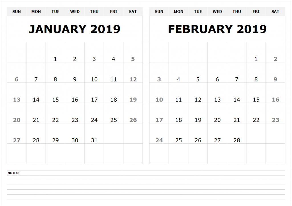 Print January February 2019 Calendar Printable January February 2019 Calendar | 100+ January and