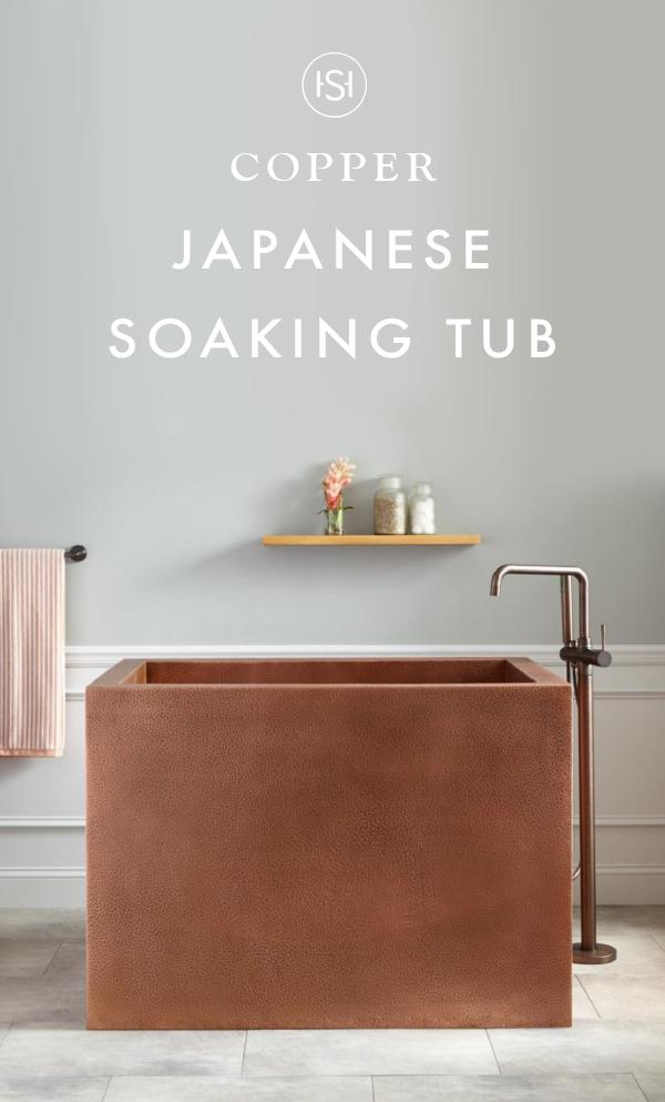 48 Amery Rectangular Hammered Copper Japanese Soaking Tub