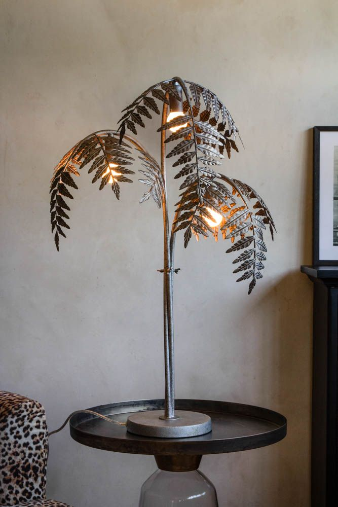 Antique Silver Palm Leaf Table Lamp Rockett St George In 2020 Table Lamp Leaf Table Silver Table Lamps