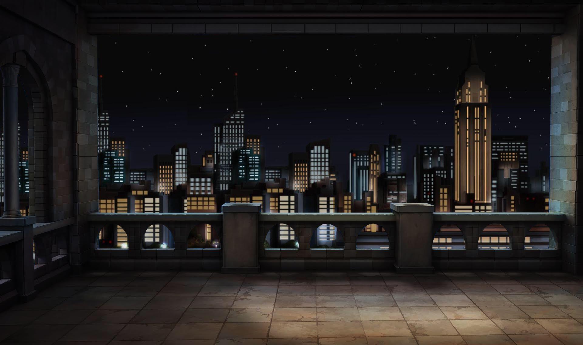 Ext Cozy Balcony 2 Night Episode Life Cenario Anime Fundo