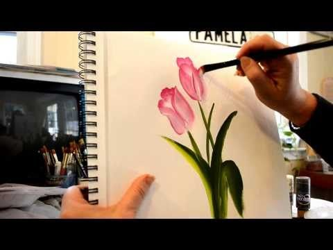 Paint Pink Tulips Fast And Easy Flower Painting Painting