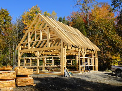 Maine timber frame barn at maine mountain timber frames for Maine post and beam kits