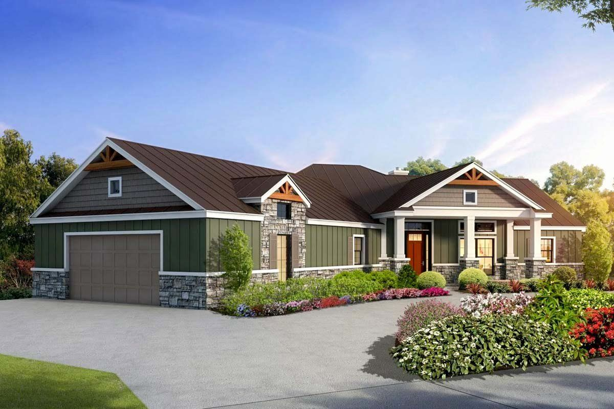 House Plans With Split Bedrooms Inspirational Split Bedroom Craftsman House Plan With Game Room In 2020 Simple Ranch House Plans Craftsman House Plans Craftsman House