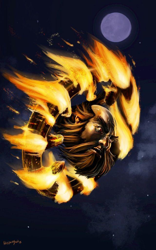 Wanyudo Japanese Myth A Flaming Wheel With The Face Of A Man At