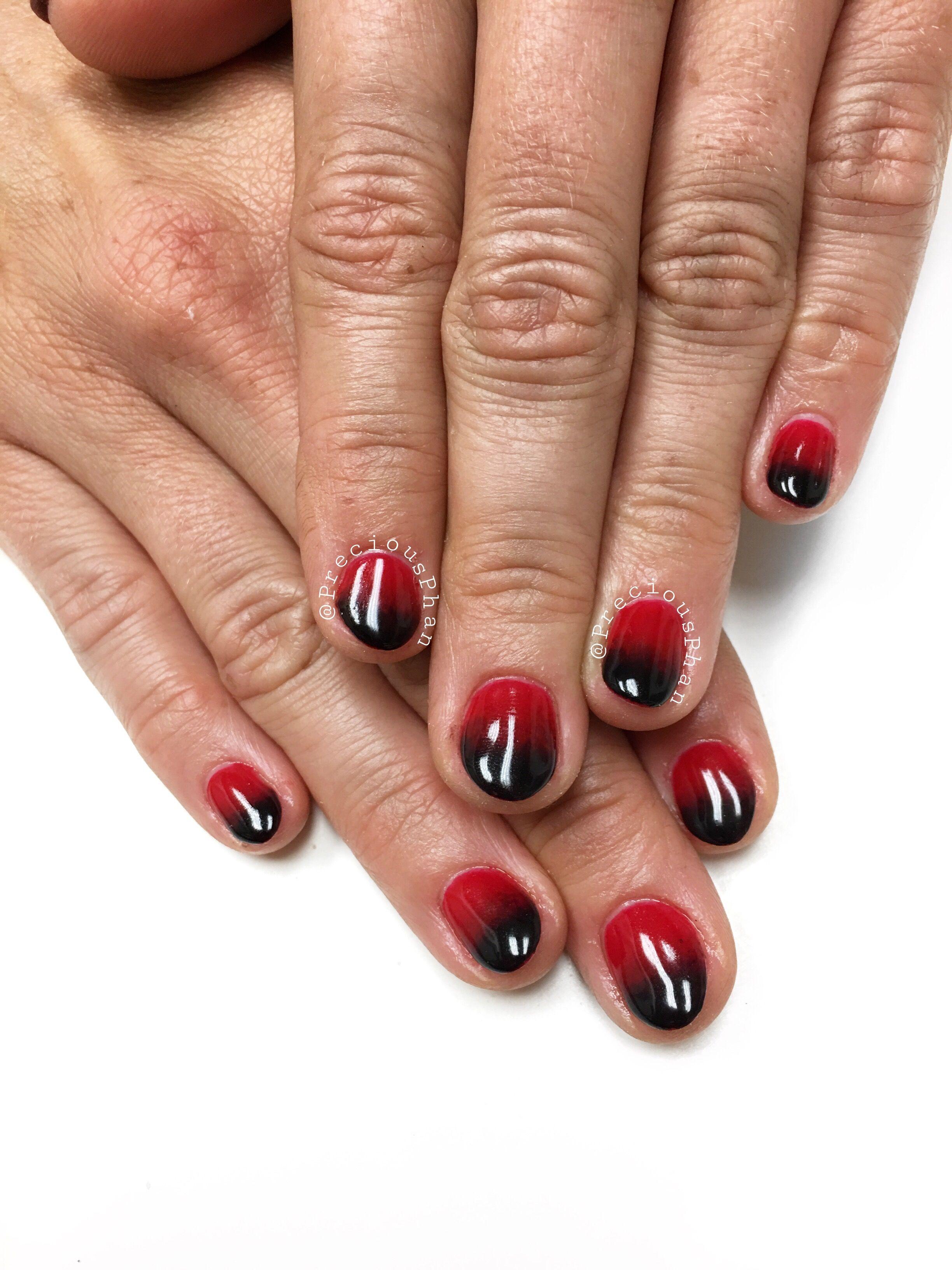 Black and red ombré nails. Oval nails. #PreciousPhan | Precious Phan ...