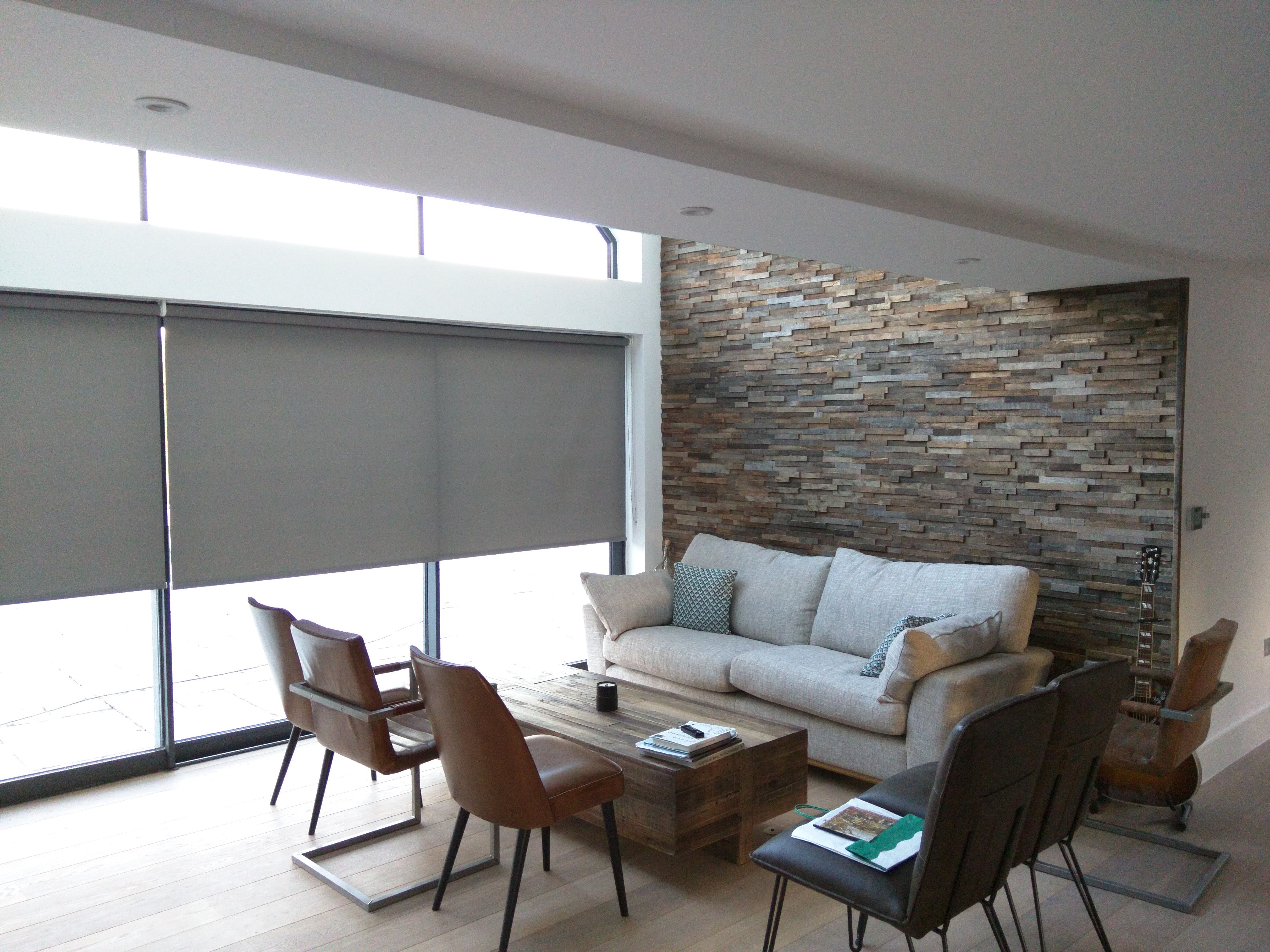 Roller blinds for double height living room