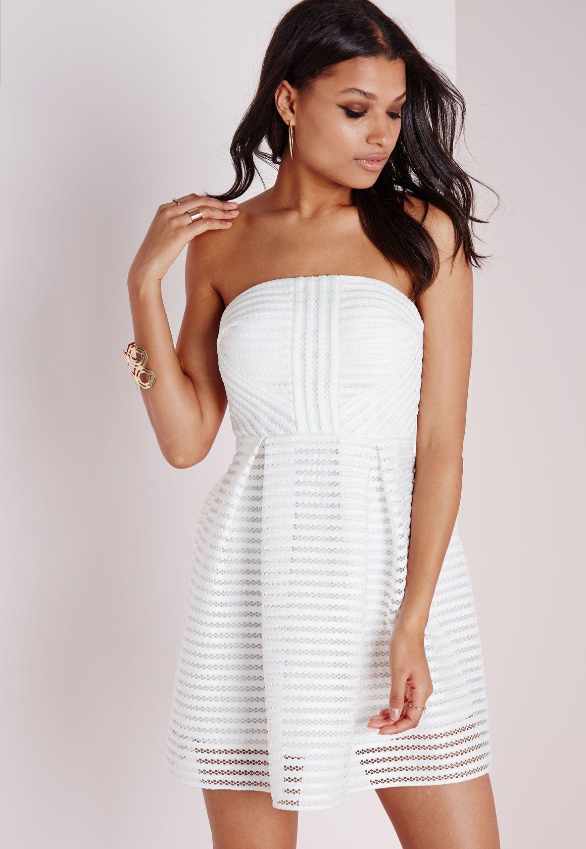 Missguided - Mesh Strapless Skater Dress White | Fashion | Pinterest