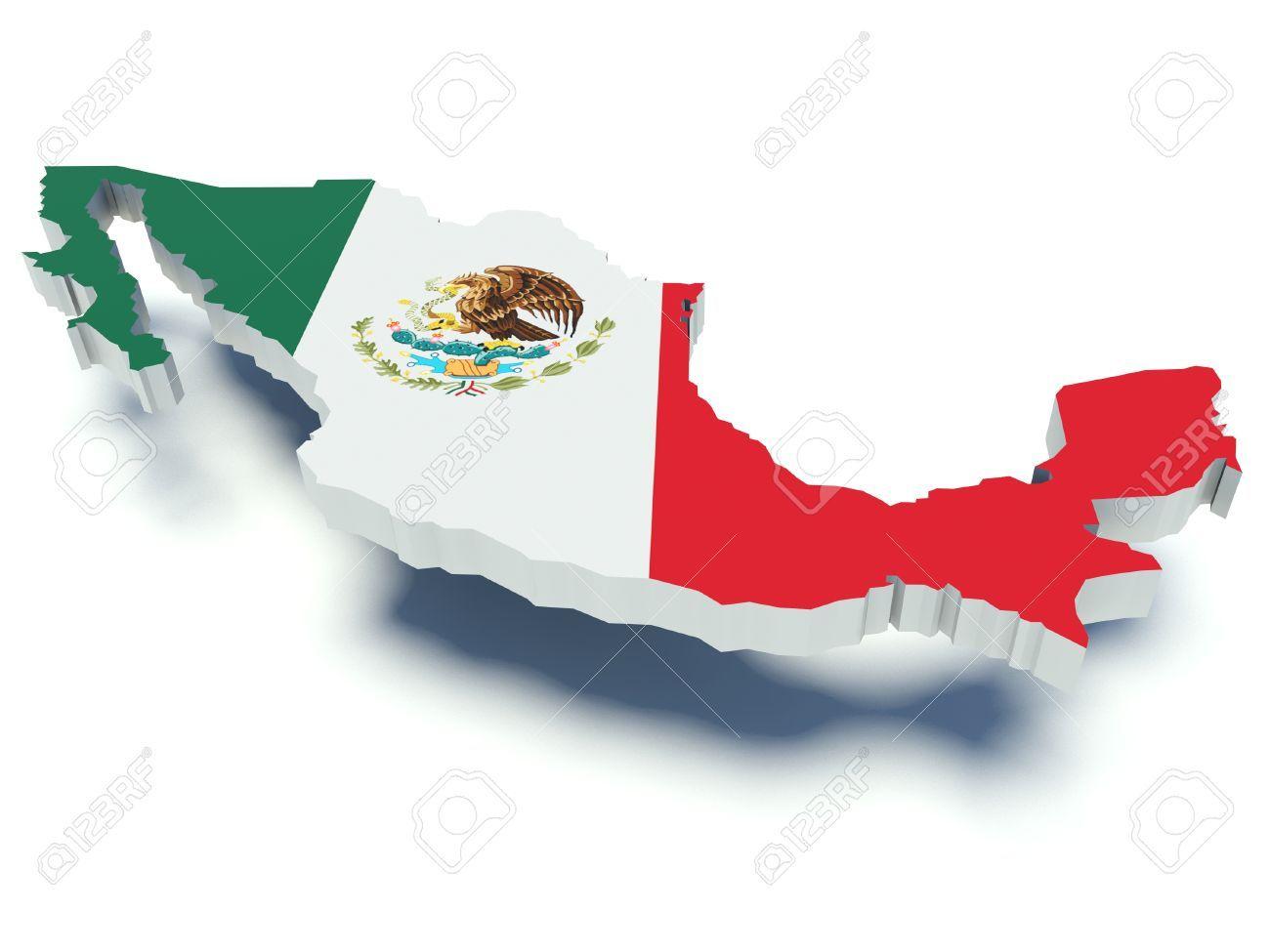 Mapa De Mexico Con Colores De La Bandera 3d Ilustracion Mapa De America Latina Mapa De America Mapa De Mexico