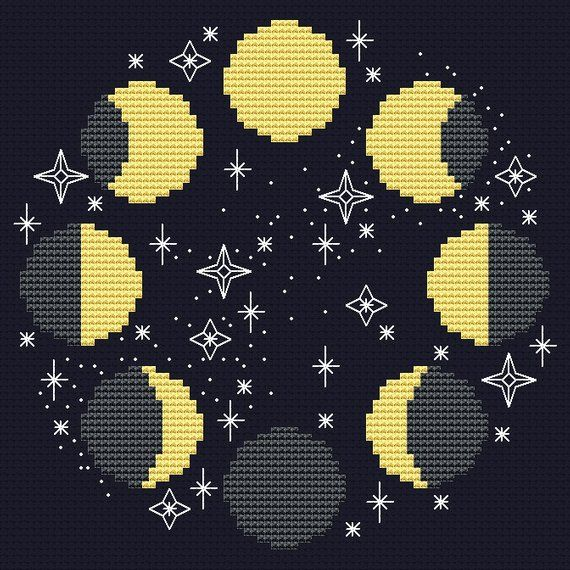 Photo of Moon cross stitch pattern Modern cross stitch Moon phases Space cross stitch Celestial hoop art Lunar cross stitch Star PDF Instant download